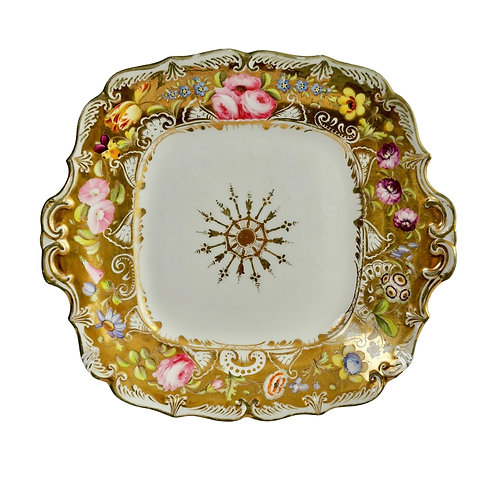 Coalport cake plate, gilt and flowers, Adelaide shape, ca 1840 A/F