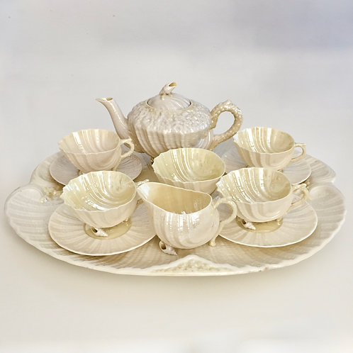 Cabaret tea set, cob lustre Neptune, Belleek 1891-1926
