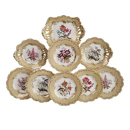 Ridgway part dessert service, beige with flowers, 1842 A/F