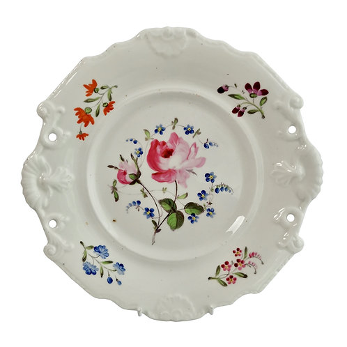 New Hall plate, white with flowers, inverted shell shape, ca 1820