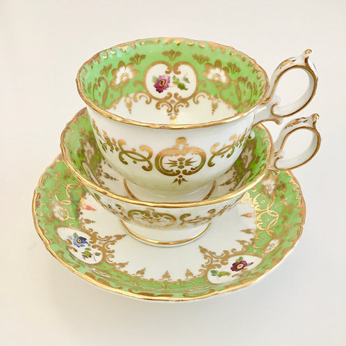 Antique tea/coffee cup trio, Rococo Revival, Minton Q-shape 1835-1841