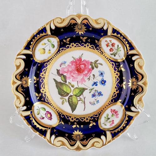 Ridgway dessert plate, moustache shape with sublime flowers, ca 1825 (2)