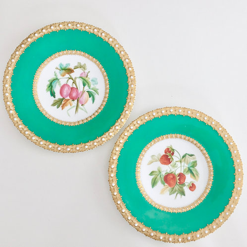 Set of 2 cabinet plates, jewelled hand painted, Grainger Worcester ca 1850