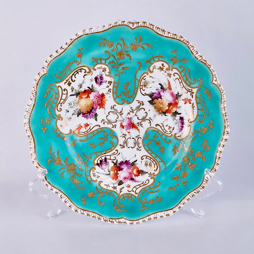 Coalport plate, turquoise, hand painted flowers, ca 1820