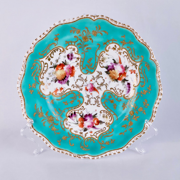 Coalport plate with turquoise ground, ca 1820