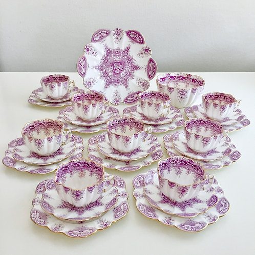 Part tea set for 9, lilac Paradise Print, Wileman 1890