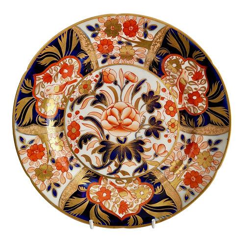 John Rose Coalport dessert plate, Japan pattern, birds, ca 1805