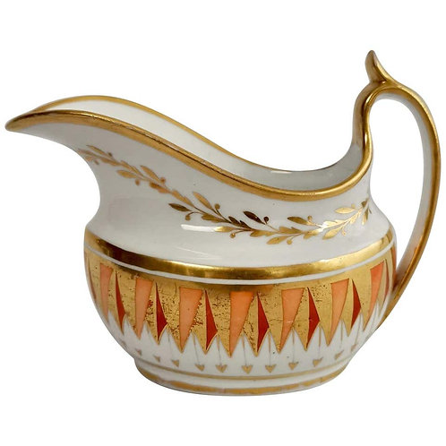 Spode milk jug, orange and gilt shark teeth, 1805-1810