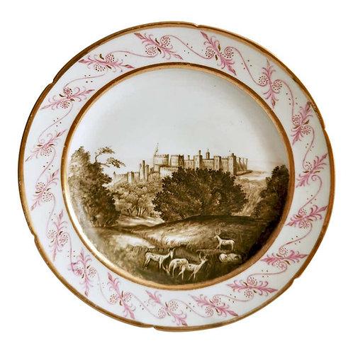 John Rose Coalport plate, named Windsor Castle, Thomas Baxter, ca 1805