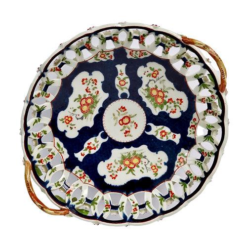 Worcester pierced basket, blue scale Kakiemon, ca 1765