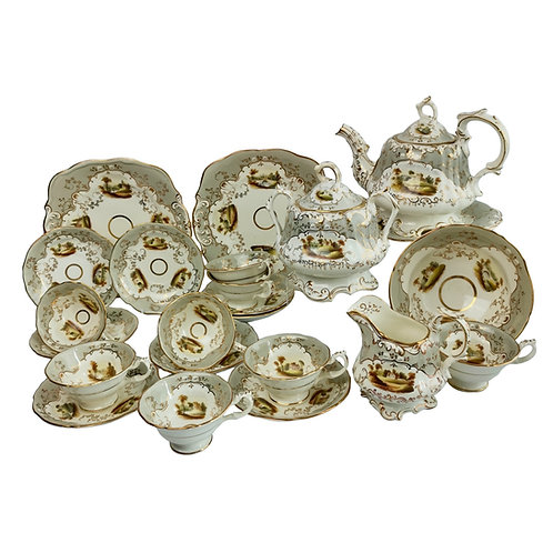 G.F. Bowers tea service, grey with landscapes, Rococo Revival 1843