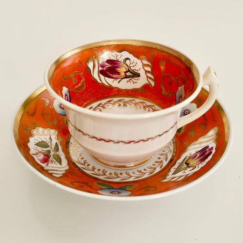Rathbone teacup and saucer, flowers on bright orange, ca 1815