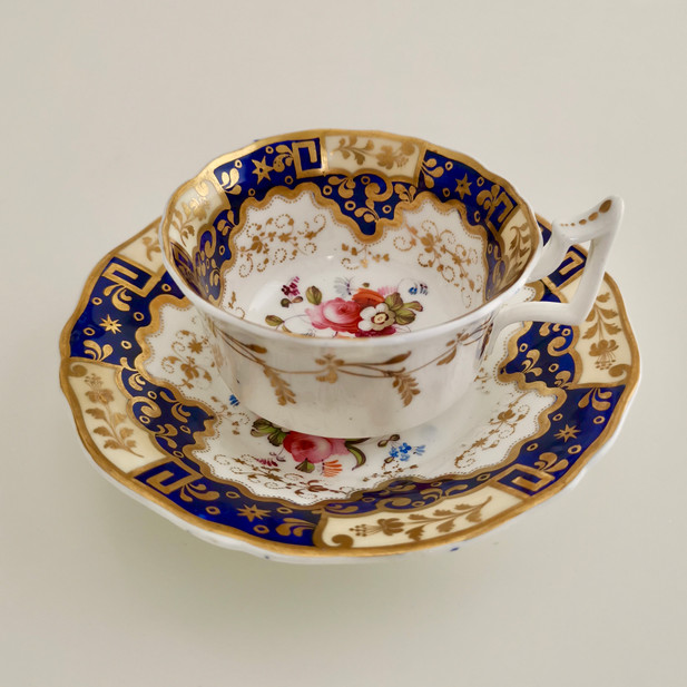 New Hall teacup, Chinese keys and flowers