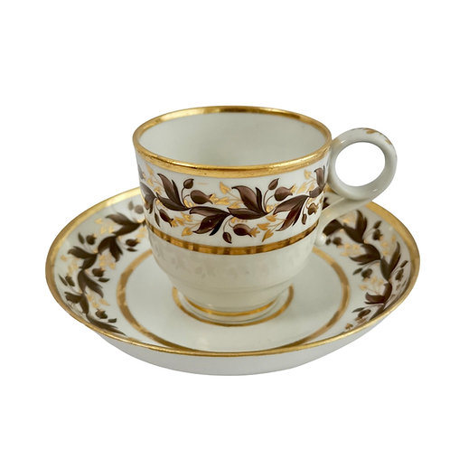 Flight & Barr coffee cup, brown gilt sprigs, 1792-1804 (1)