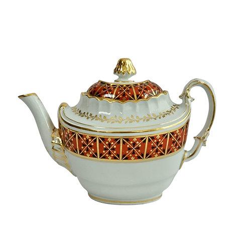 Barr Flight & Barr oval barrel teapot, red, black and gilt, 1804-1813 A/F