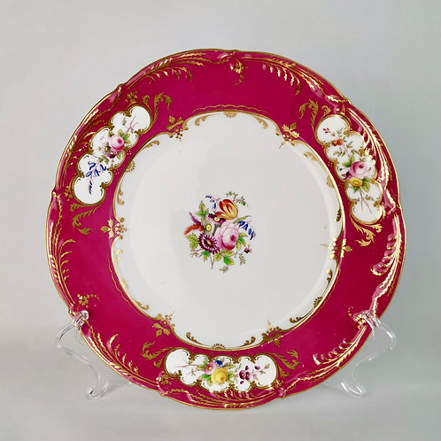 Coalport plate, moulded maroon rim and flowers, patt. 4/99, 1839