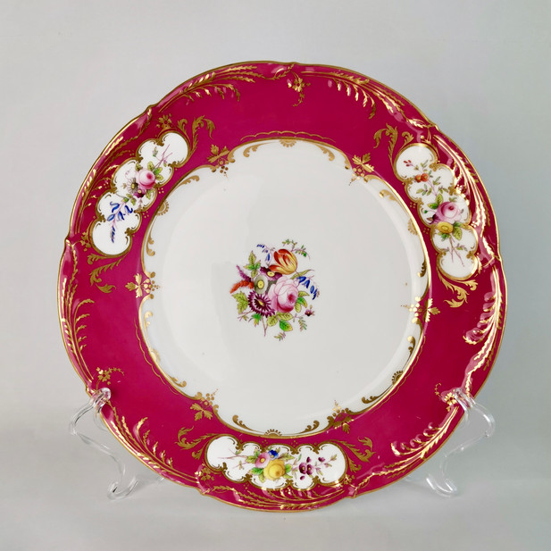 Coalport plate, maroon and flowers, ca 1860