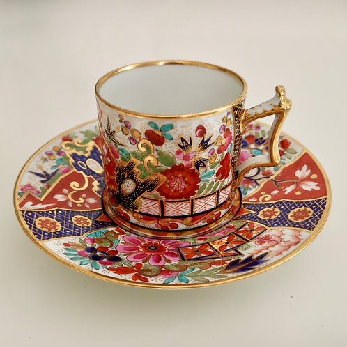 "Flight Barr & Barr coffee can and saucer, ""crazy"" Japan pattern, 1813-1820"