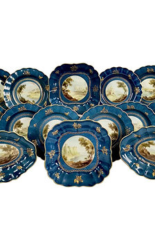 Royal Worcester dessert service, powder blue, landscapes G. Johnson, 1912