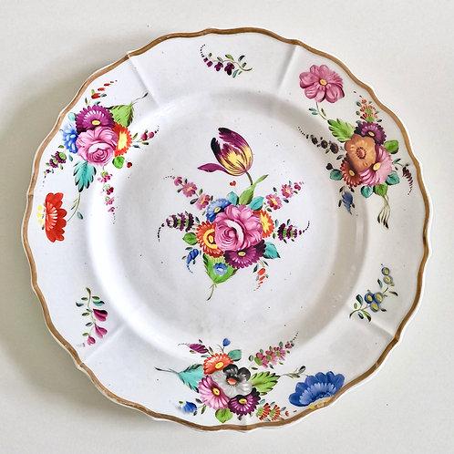 Swansea plate, London decorated flower pattern ca 1820