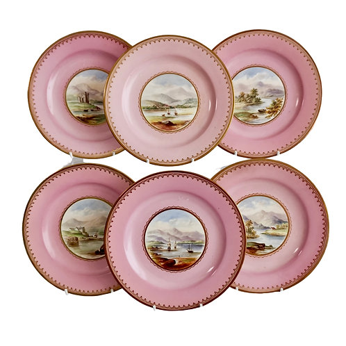 Set of 6 Bell Glasgow side plates, pink with water landscapes, ca 1860