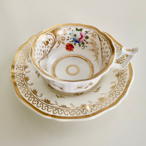 Staffordshire mix and match teacup, hand painted flowers ca 1825