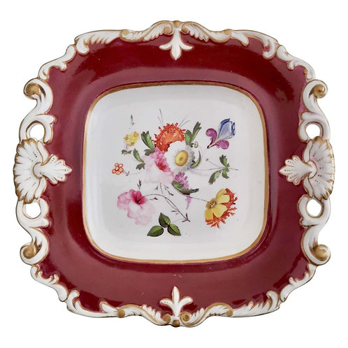 Samuel Alcock plate, maroon with flowers, inverted shell, ca 1825