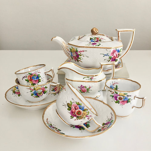 Stunning Tea for 2 set, Octagon/New Dresden, Spode 1816-1821