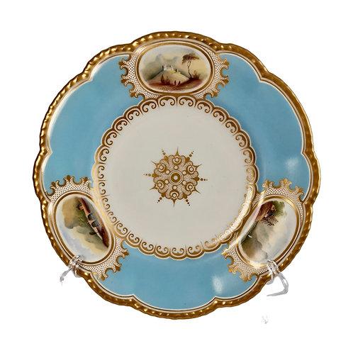 Grainger & Co plate, sky blue with landscapes, ca 1850