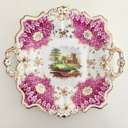 Serving dish with hand painted landscape, Ridgway 1830 A/F