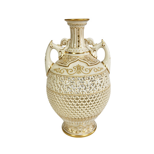 Royal Worcester small Persian vase, reticulated George Owen, 1917