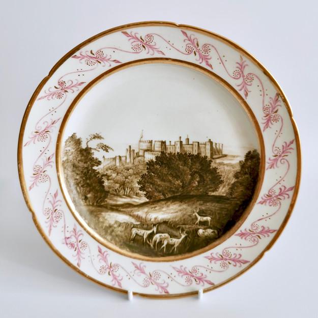 Coalport Thomas Baxter plate Windsor Castle, ca 1810