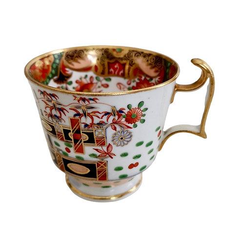 Spode orphaned coffee cup, Imari Tobacco Leaf patt. 967, ca 1815