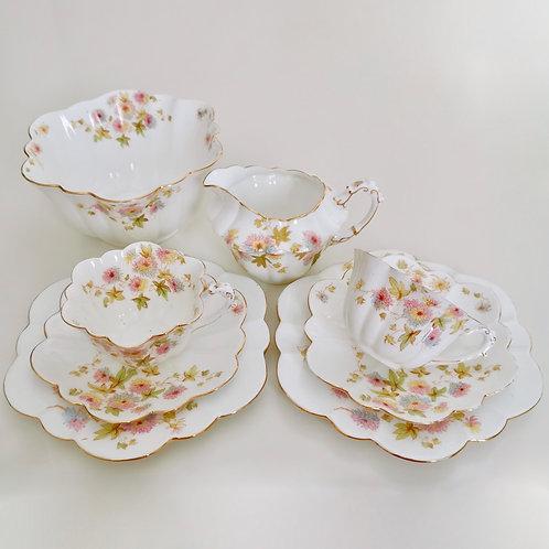 Wileman Tea-for-Two set, Chrysanthemum on Empire shape patt. 5701, 1896