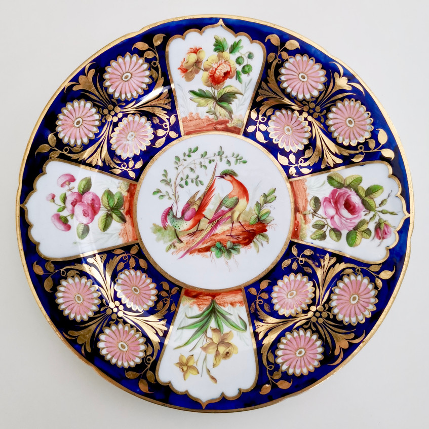 John Rose Coalport plate with birds and flowers