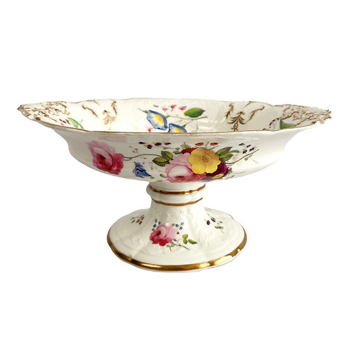 Coalport tazza, blind-moulded white, Swansea-style flowers, ca 1820