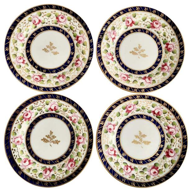 New Hall set of 4 tea plates