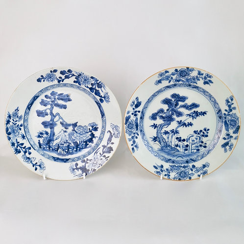 Two Chinese Export plates, Three Friends of Winter, Qianlong 1735-1796
