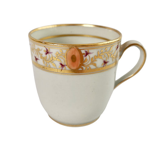 New Hall orphaned coffee cup, hybrid paste, gilt and peach, ca 1795
