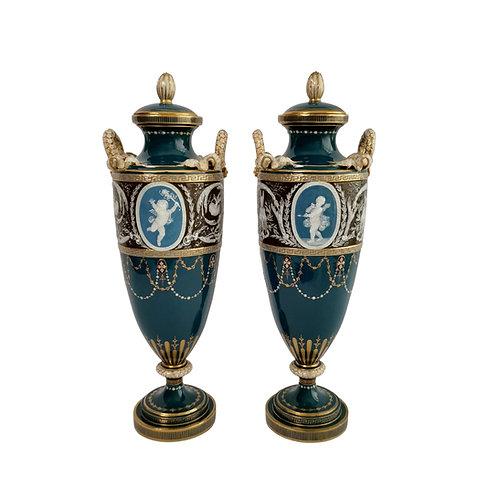 Minton pair of vases, pâte-sur-pâte by Harry Hollins, 1873-1891
