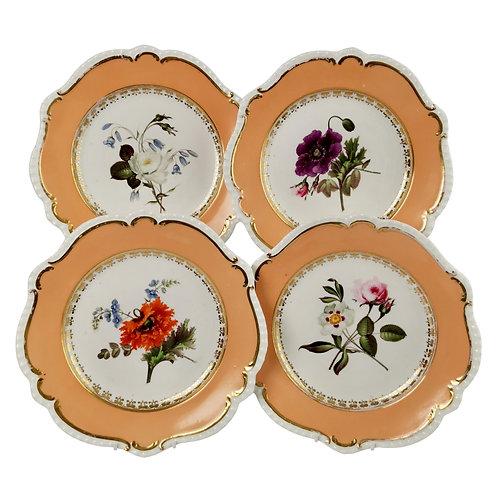Coalport set of 4 plates, peach, flowers attr. Cecil Jones, 1820-25
