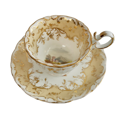 Coalport coffee cup, beige with landscapes, Adelaide shape, ca 1840 (1)