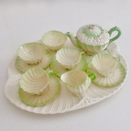 Cabaret tea set, green Neptune, Belleek 1891-1926