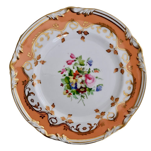 Coalport plate, peach ground and flowers by Thomas Dixon, ca 1850 (1)