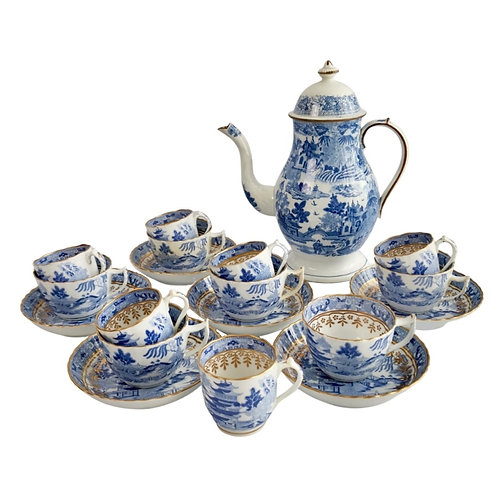 Tea and coffee service Rathbone/Miles Mason, Pagoda pattern, ca 1810