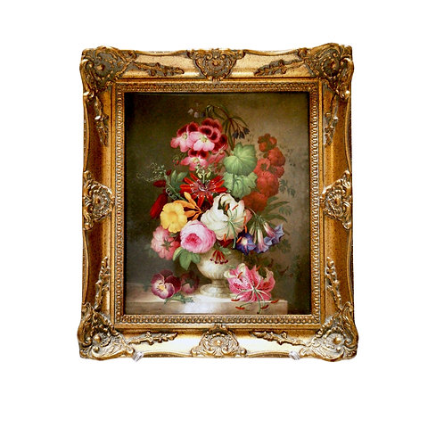 Coalport porcelain plaque of flower bouquet, Victorian ca 1840