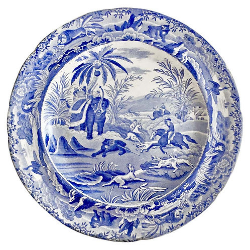 "Copeland & Garrett Plate, Blue and White ""Death Of The Bear"", 1833-1847 (2)"