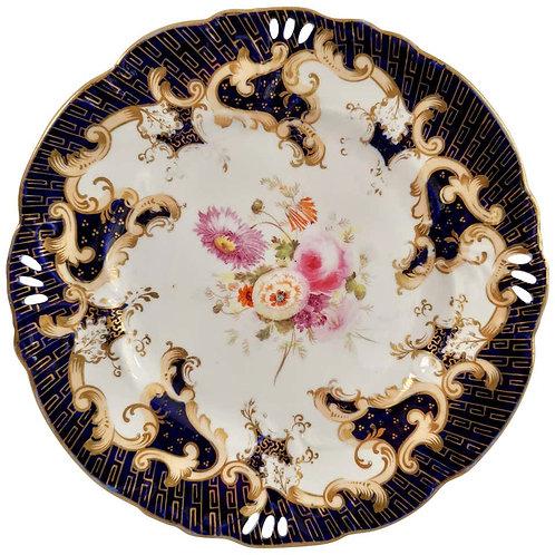 Dessert Plate, Samuel Alcock, Horn of Plenty, cobalt blue, flowers, ca 1845 (2)