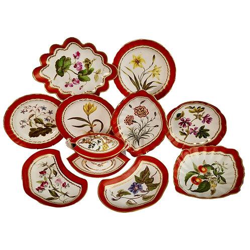 Derby part dessert service, botanical attr. to John Brewer, 1795-1800