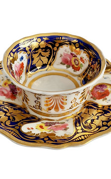 Ridgway teacup, cobalt blue, gilt and flowers patt. 2/1043, ca 1825